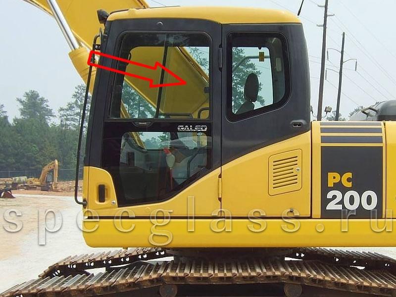 Стекло дверное верхнее (форточка) для Komatsu PC200-7 / PC220-7 / PC300-7 / PC400-7 / PC750-7 / PC800-7