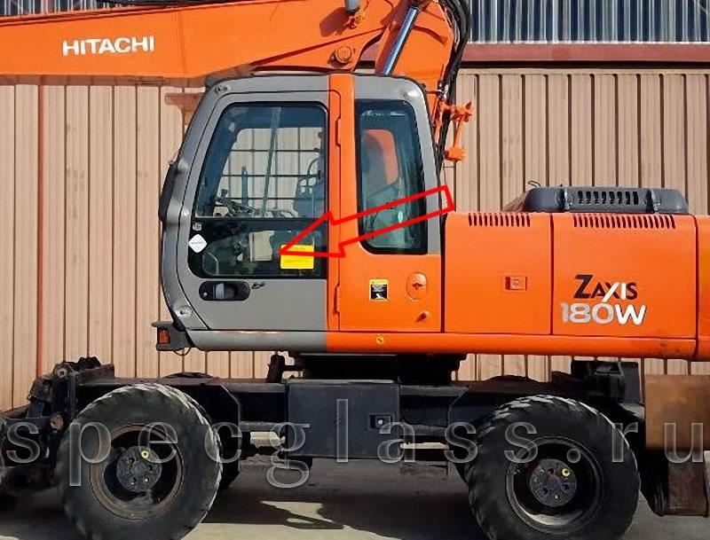 Стекло дверное нижнее левое для Hitachi ZAXIS ZX130W / ZX140W / ZX160W / ZX180W / ZX225W