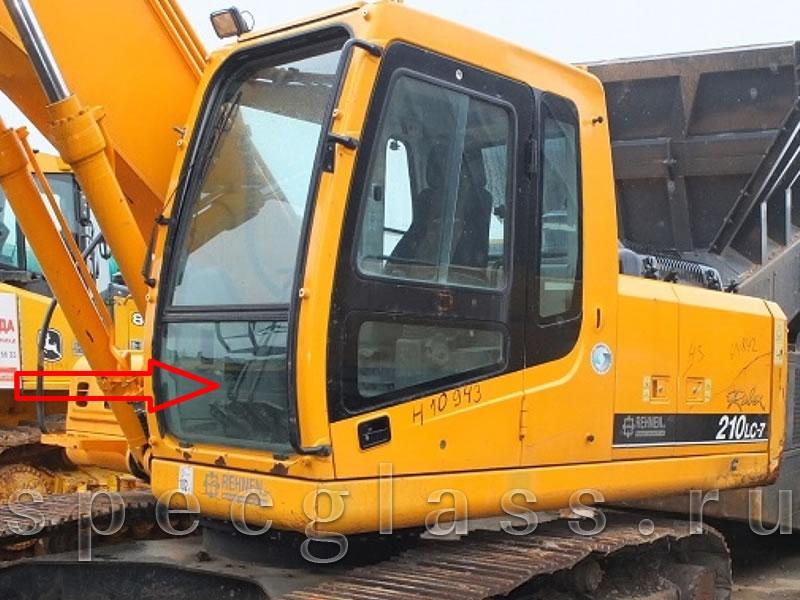 Стекло лобовое нижнее для Hyundai Robex 210LC-7 / 260LC-7 / 290LC-7 / 300LC-7 / 330LC-7 / 450LC-7 / 480LC-7