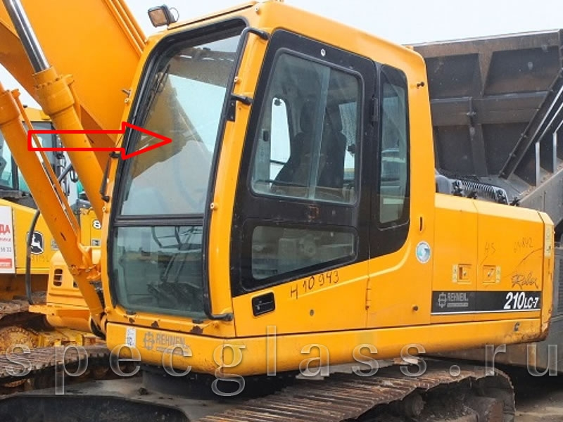 Стекло лобовое верхнее для Hyundai Robex 210LC-7 / 260LC-7 / 290LC-7 / 300LC-7 / 330LC-7 / 450LC-7 / 480LC-7