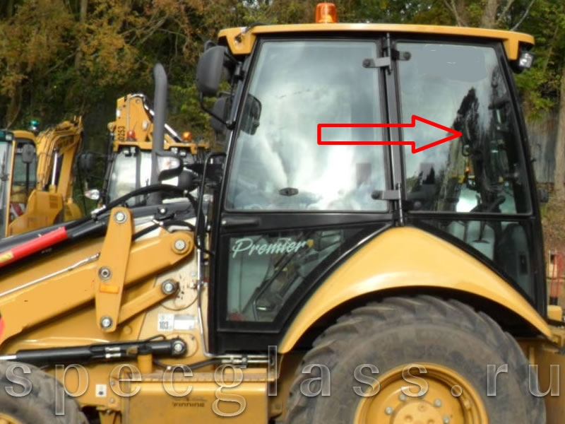 Стекло кузовное левое верхнее для Caterpillar 428e / 432e / 434e / 444e / 428f / 432f / 434f / 444f