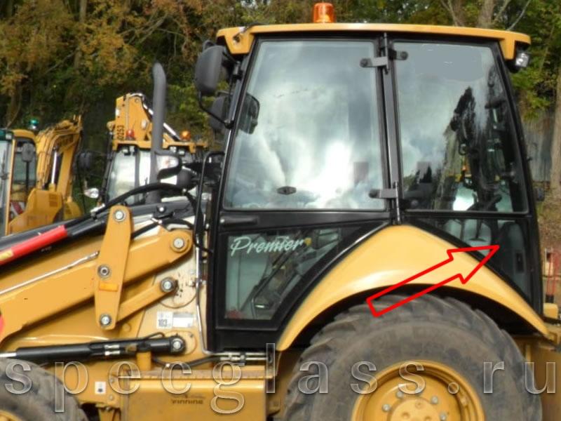 Стекло кузовное левое нижнее для Caterpillar 428e / 432e / 434e / 444e / 428f / 432f / 434f / 444f