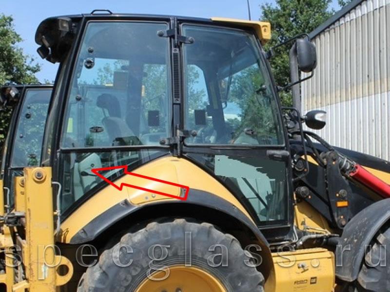 Стекло кузовное правое нижнее для Caterpillar 428e / 432e / 434e / 444e / 428f / 432f / 434f / 444f