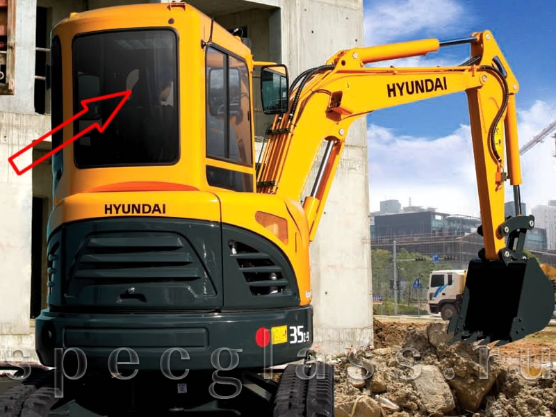 Стекло заднее для Hyundai R35Z-9 / R27Z-9