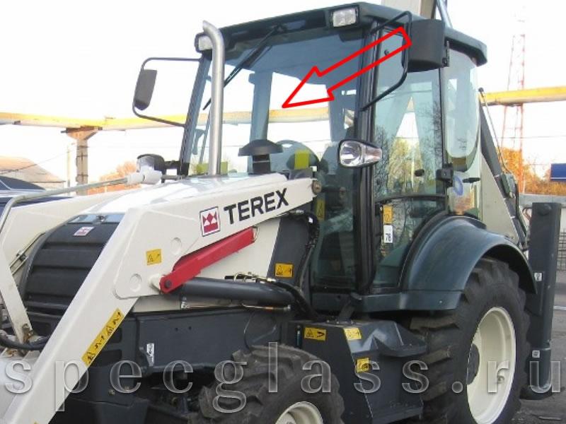 Стекло лобовое верхнее (сталинит) для Terex 840 / TLB840 / 890 / TLB890