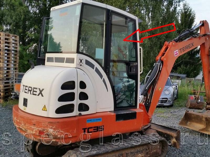 Стекло дверное верхнее правое для Terex TC35