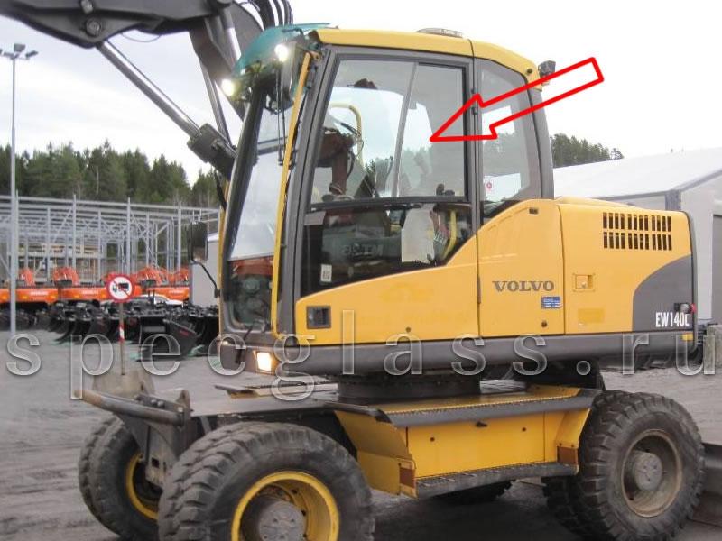 Стекло дверное верхнее (ближе к кузовному) левое для Volvo EW140C / EW160C / EW180C / EW140D / EW160D / EW180D / EC160DL / EC210CL / EC250DL