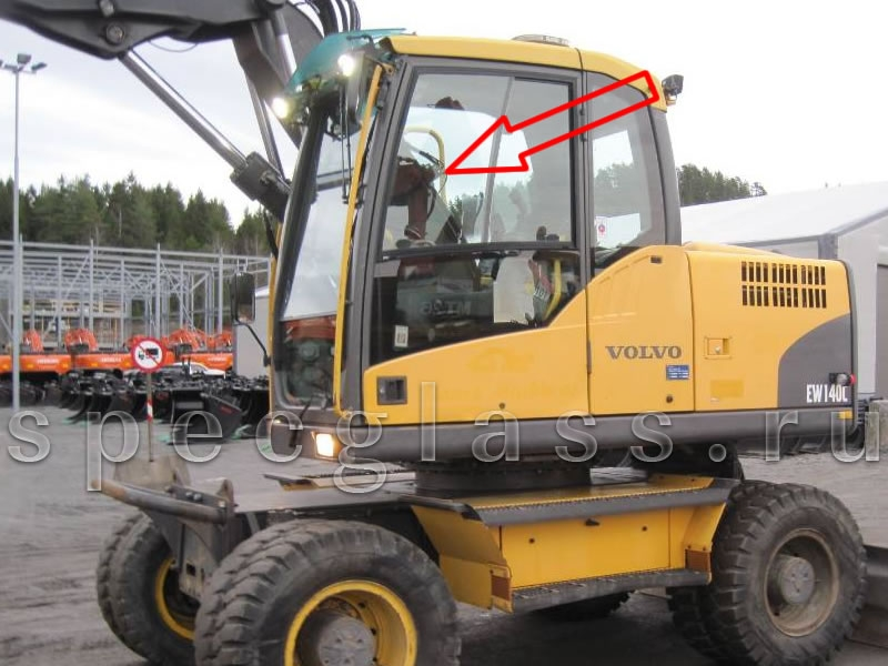 Стекло дверное верхнее (ближе к лобовому) левое для экскаватора Volvo EW140C / EW160C / EW180C / EW140D / EW160D / EW180D / EC160DL / EC210CL / EC250DL