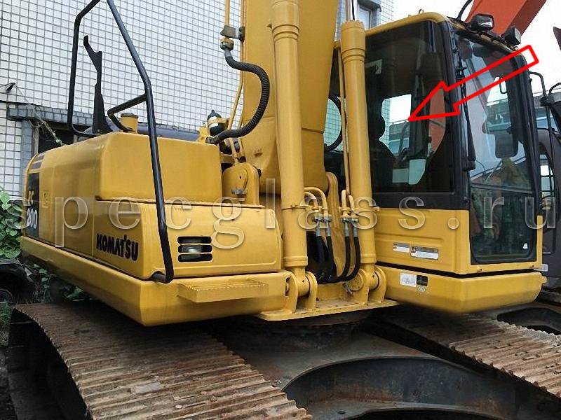 Стекло кузовное правое (возле стрелы) для Komatsu PC200-8 / PC220-8 / PC300-8 / PC400-8 / PC750-8 / PC800-8