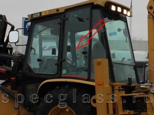 Стекло кузовное левое (распашное) для Caterpillar 428D / 432D