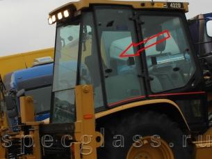 Стекло кузовное правое (распашное) для Caterpillar 428D / 432D