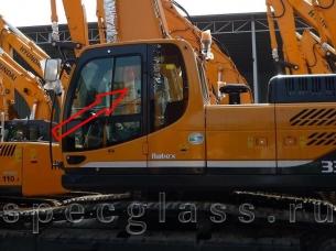 Стекло дверное верхнее, форточка (ближе к заднему стеклу) для Hyundai Robex 210LC-9 / 260LC-9 / 290LC-9 / 300LC-9 / 330LC-9 / 450LC-9 / 480LC-9