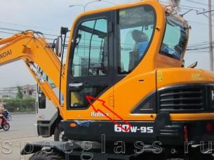 Стекло дверное нижнее для Hyundai Robex 60W-9S