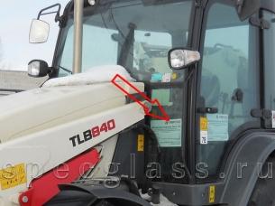 Стекло лобовое нижнее левое для Terex 840 / TLB840 / 890 / TLB890