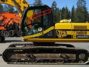 Стекло двери верхнее левое для JCB JS160 / JS180 / JS200 / JS220 / JS330 2010- г.в.