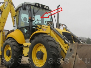 Стекло лобовое верхнее для New Holland LB115 / B115B / B110B / B100B / B90B