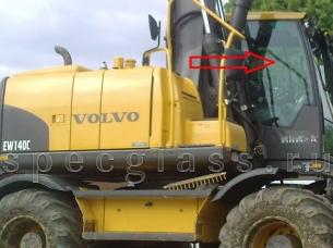 Стекло правое (возле стрелы) для Volvo EW140C / EW160C / EW180C / EW140D / EW160D / EW180D / EC160DL / EC210CL / EC250DL