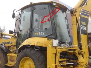 Стекло кузовное левое для Komatsu WB93R-5 / WB97R-5 / WB93S-5 / WB97S-5 / WB93S-5EO / WB97S-5EO 2006- г.в.