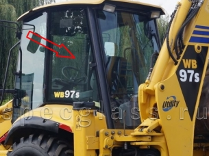 Стекло кузовное левое для Komatsu WB93R-2 / WB97R-2 / WB93S-2 / WB97S-2 1997- г.в.